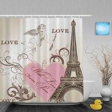 Cortina de ducha de baño con corazón de amor Rosa Curains Torre Eiffel Vintage Cortina de ducha de Cupido tela de poliéster impermeable con ganchos