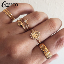 CUTEECO 7 Pcs/set Charm Gold Color Midi Finger Ring Set for Women Vintage Boho Knuckle Party Rings Punk Jewelry Gift Girl