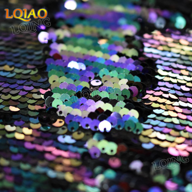 ee26a958edf24d 2018 New Fashion Color Rainbow Sequin Fabric Reversible Mermaid 5mm Flip Up  Sequin Fabric By The