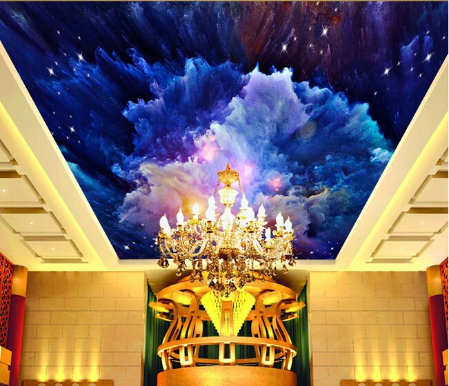 Custom wallpaper 3D,watercolor sky murals for the dining room bedroom Hotel KTV ceiling background waterproof embossed wallpaper high definition sky blue sky ceiling murals landscape wallpaper living room bedroom 3d wallpaper for ceiling