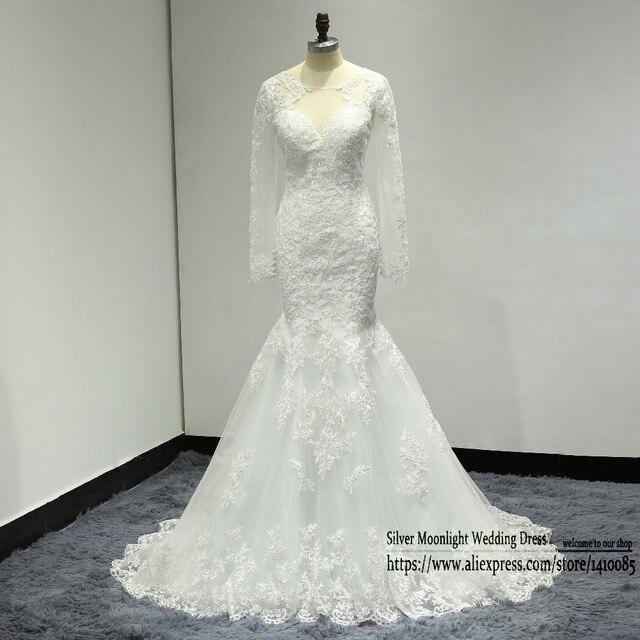 Nifuna vestidos de novia Long sleeves Appliques mermaid wedding ...