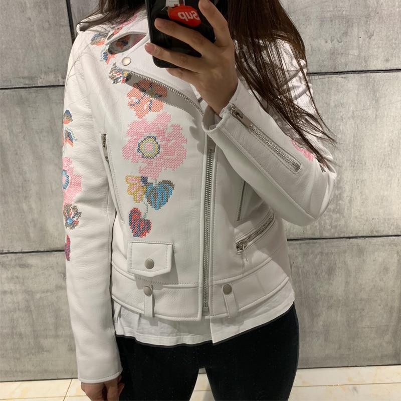 lamb skin jacket women real leather jacket embroidery