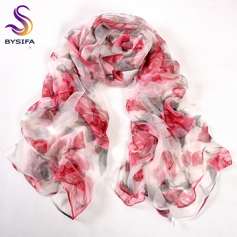 [BYSIFA] Red Roses Silk Scarf Ladies Fashion 100% Pure Silk Long Scarves Spring Autumn Thin Transparent Sexy Satin Silk Scarf