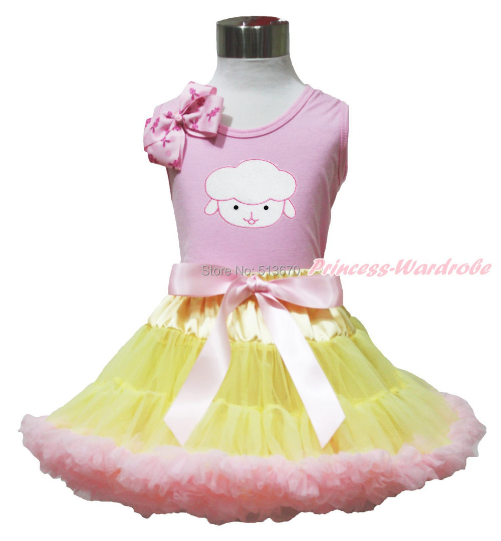 Easter Sheep Pink Bow Pink Top shirt Pink Yellow Baby Girl Skirt Set 1-8Y MAPSA0502 halloween orange top ruffle bow pumpkin satin trim skirt girl outfit set nb 8y mapsa0866