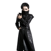 Punk Women Worsted Long Jacket Gothic Single Breasted Long Sleeve Winter Coats Thick Casual Jacket Overcoats
