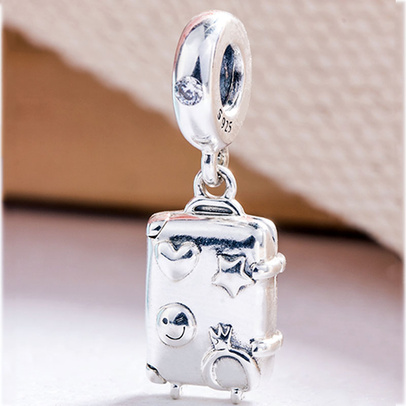New 925 Sterling Silver Bead Charm Suitcase With Heart Star Winky Face Ready To Explore Pendant Fit Pandora Bracelet Diy JewelryNew 925 Sterling Silver Bead Charm Suitcase With Heart Star Winky Face Ready To Explore Pendant Fit Pandora Bracelet Diy Jewelry