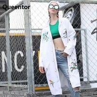 ג 'ינס לבן רקמת אישיות אופנה חדשה 2018 אביב מותג מקורי רופפת מעיל ארוך נשים מעיל קאובוי סיטונאי