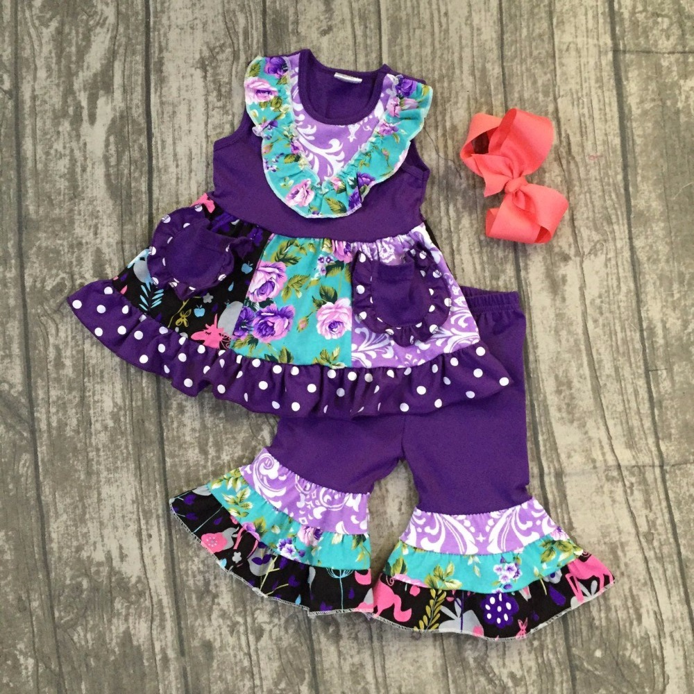 fc31784a976 baby girls boutique summer spring clothes kids purple floral clothes kids  girls summer outfits with capri pants outfitswith bows