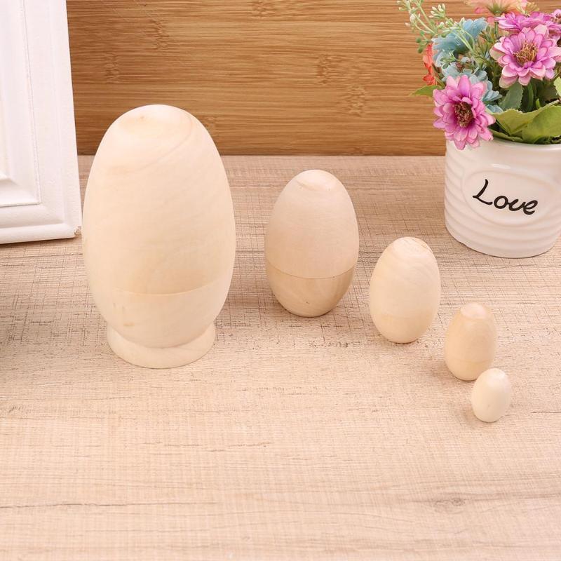 5pcs/set Egg Shape Embryo Matryoshka Dolls Wood Russian Nesting Doll DIY Handmade Wooden Craft for Girls Gift