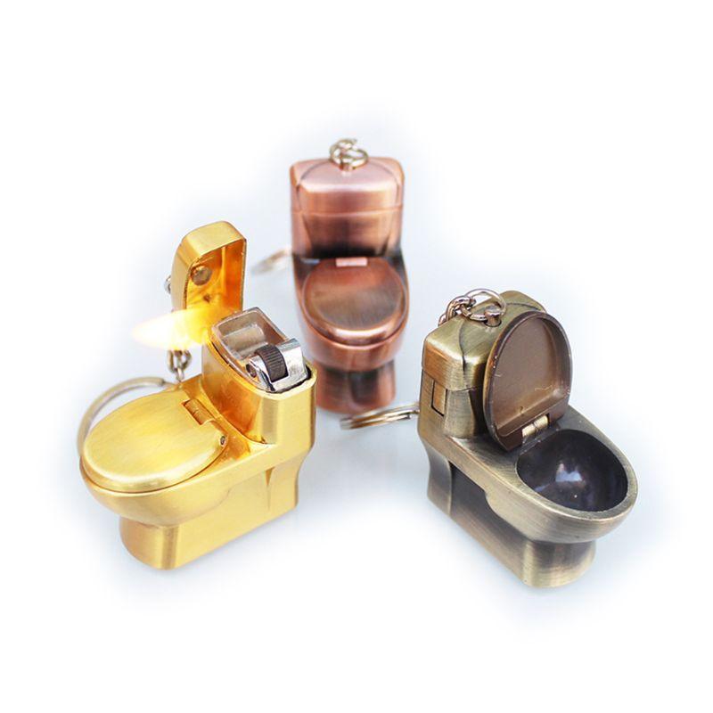 mini cute flush toilet simulation  model butane lighter fire starter with key chain ring