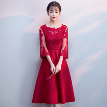 Hollow Out Burgundy Appliques Chinese Dress Women Evening Party Gown Satin Sexy Tight Slim Elegant Vestidos De Soiree Cheongsam