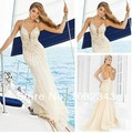 Free Shipping Sparkle Spaghetti Straps Open Back Party With Crystal Beaded Evening Gowns 2014Long Prom Dresses