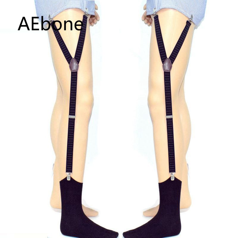 AEbone Shirt Suspenders For Men 3 Clip Shirt Stays Shirt Garter Uniform Holder Black Dot Suspenders For Shirt Sus51