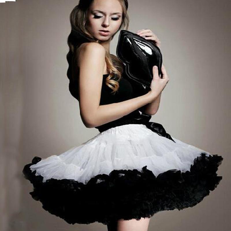 Retro Petticoat Princess Party Rock Dancing Full Tulle Tutu Mini Skirt Rockabilly Short Dress White Black Women Adult Girls - Madegiftforyou Factory Store store