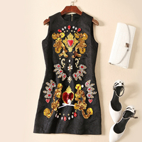 2018 High Quality Spring And Summer New Women S Clothes Handmade Beads Print Dress Black Jacquard