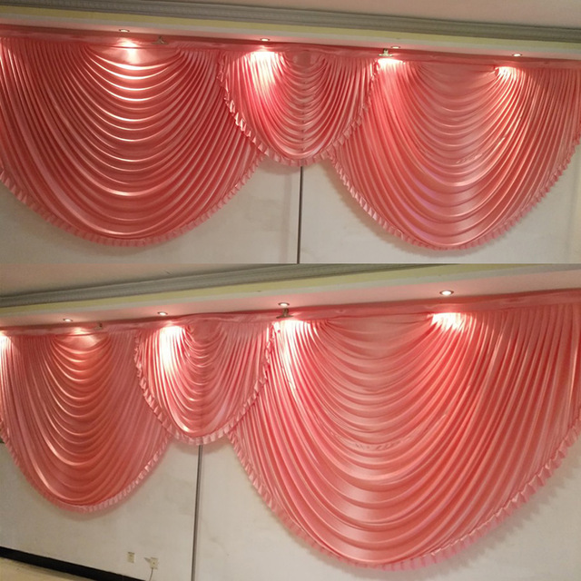 2 pieces Red wedding backdrop curtain swags for 3 3M background event party curtain swags only