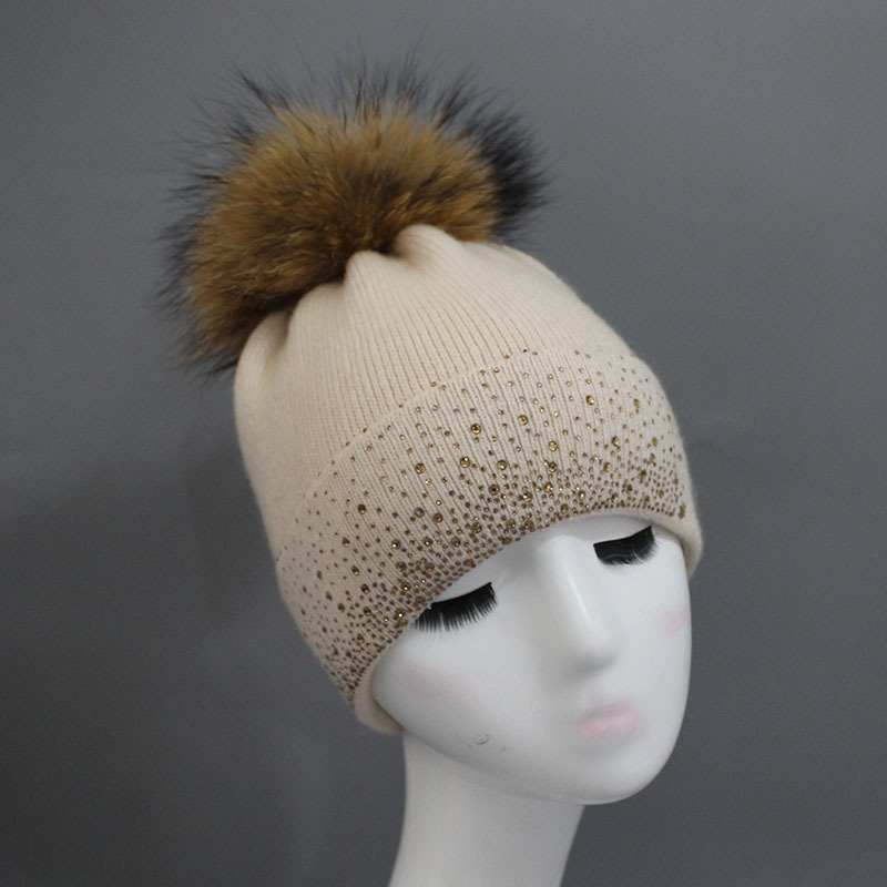 Russian Women's Blend Wool Skullies Beanies Hats Raccoon Fur Pom Pom Hat Female Winter Warm Caps Fashion Headgear LF4144 skullies beanies the new russian leather thick warm casual fashion female grass hat 93022
