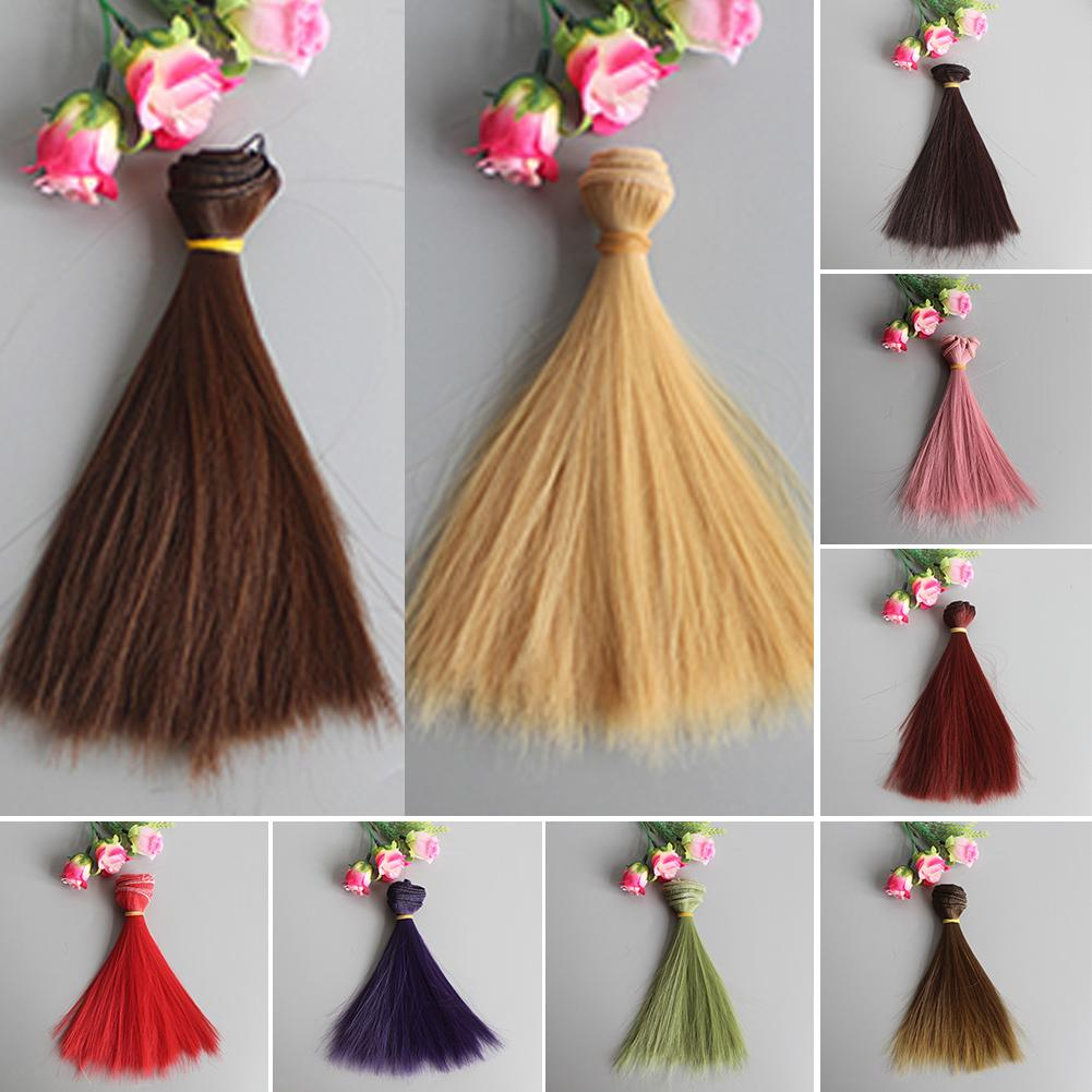 15cm Long Straight Synthetic Fiber Wig Hair Extension for BJD SD Doll Accessory Doll Wigs High-temperature Wire
