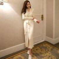 9cce5a9c4 ... Dresses Korean Style Winter Dresses. Vestido de camisola feminina  inverno botão frontal mulheres jumper longo vestidos estilo Coreano quente  malha 2018 ...
