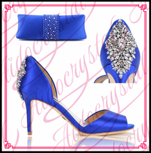 New Arrival Wedding Shoe And Bag Sets Fashion Royal Blue High Heels Women Pumps Shoes Italian Matching Shoe And Bag Set