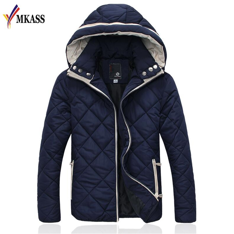 ФОТО 2017 Fashion New Men winter Hooded Down cotton-padded Clothes High quality Slim Men's Coats