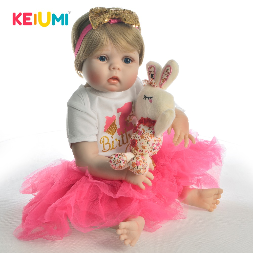 KEIUMI 23 Full Body Silicone Reborn Baby Doll Lifelike Toy For Girl Toddler Realistic Reborn Babies