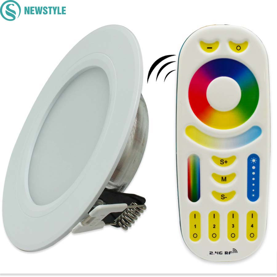 6W Milight Led Panel Dimmable Led Downlight AC85 265V RGB+CCT Indoor Room Kitchen Lighting +2.4G RF Wireless Remote Control