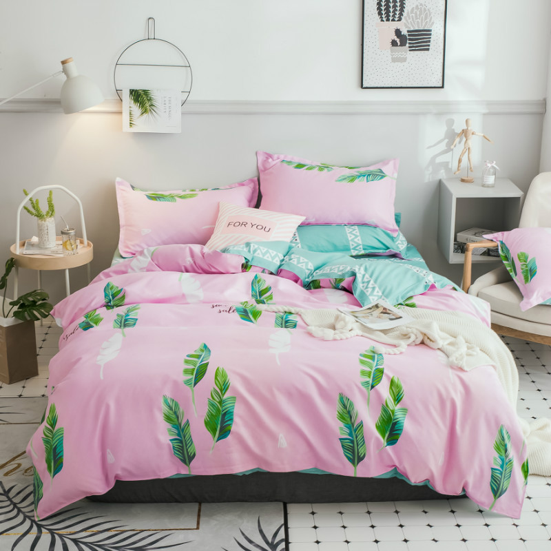 Leaves Print 3-4pcs/lot AB Sides Duvet Cover Sets 100% Polyester Bedding Sets for Kids Adults Single Double Bed XF612-6Leaves Print 3-4pcs/lot AB Sides Duvet Cover Sets 100% Polyester Bedding Sets for Kids Adults Single Double Bed XF612-6