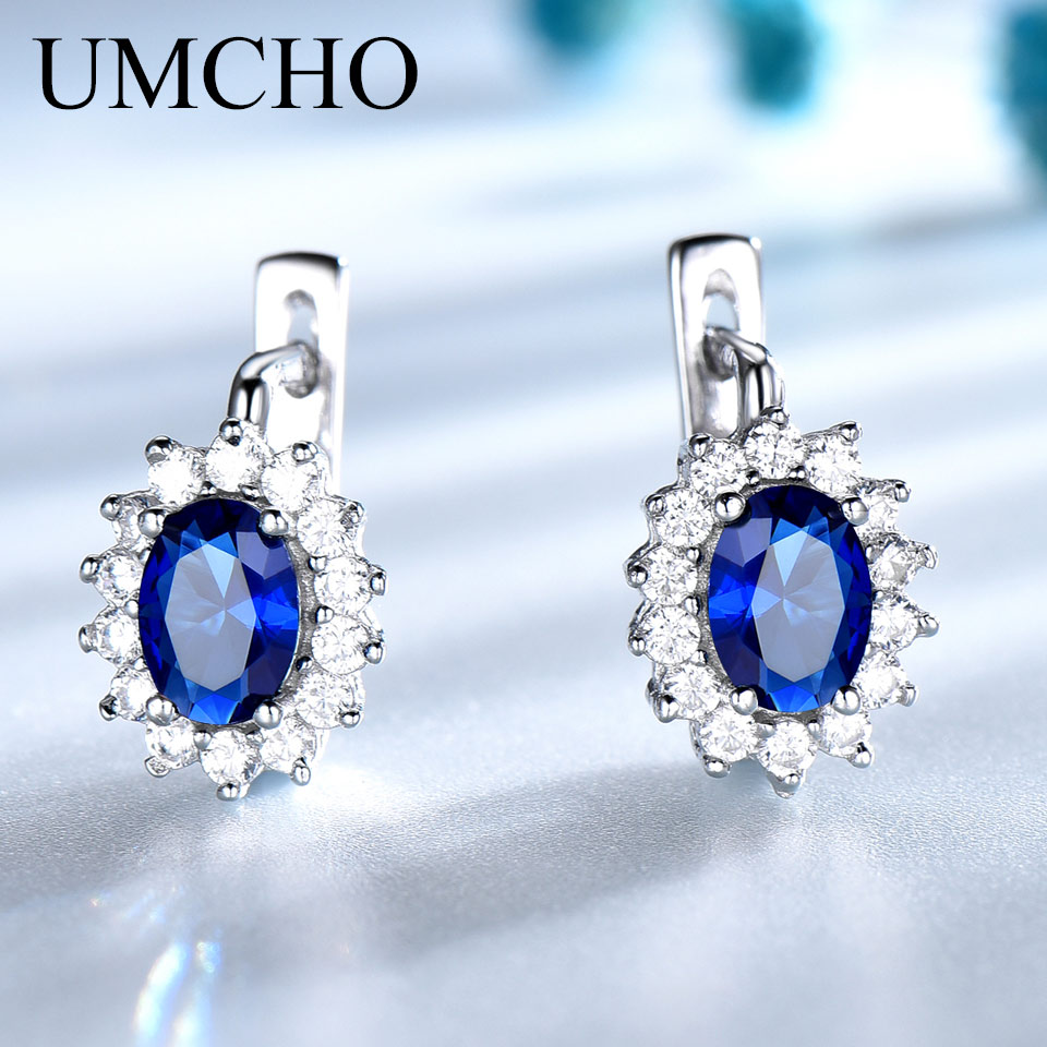 UMCHO Solid 925 Sterling Silver Gemstone Clip Earrings for Women Blue Sapphire Fine Jewelry Wedding Engagement Valentine's Gift(China)