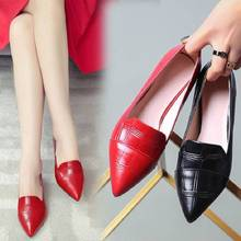Women Pumps Black Mid Heels Lady Pu Leather Thick with Autumn Pointed Single Shoes Shallow Women Party Wedding Shoes Wholesales