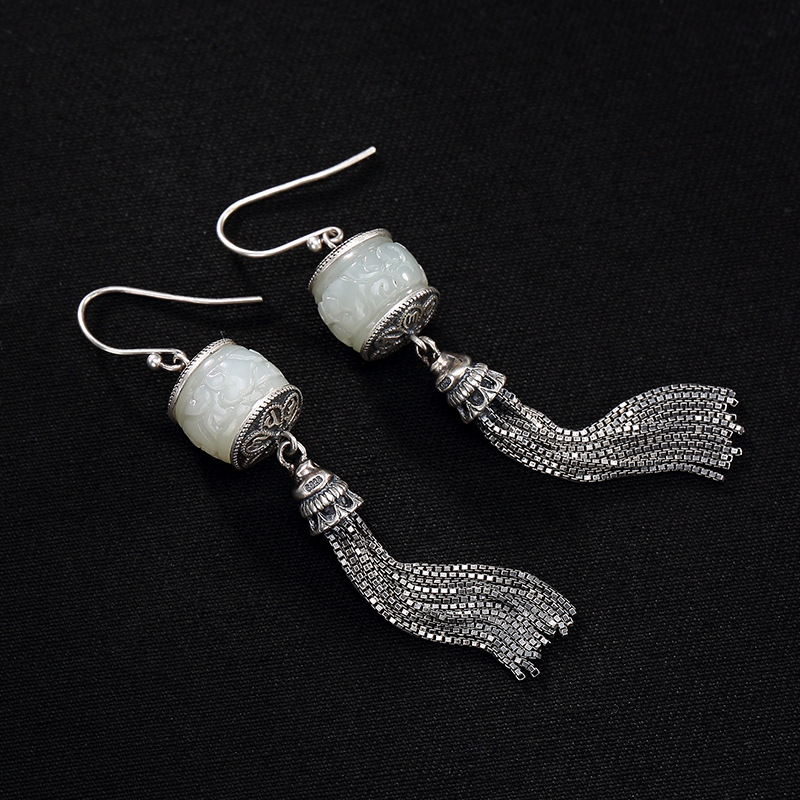 S925 Pure Silver Antique Inlaid Six Character Real Word, Hetian Jade White Jade Tassel Lady Earrings Earrings Wholesale new fashion silver s925 pure silver natural hetian jade jade bead beeswax mosaic peony lady eardrop earrings wholesale
