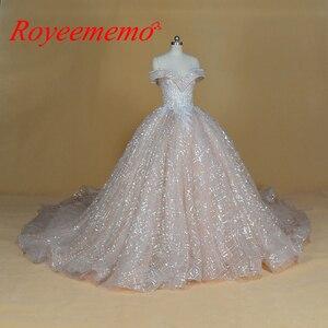 Image 1 - Vestido de Noiva off shoulder wedding dress Vintage Robe De Mariage special lace design shiny luxurious wedding dress factory