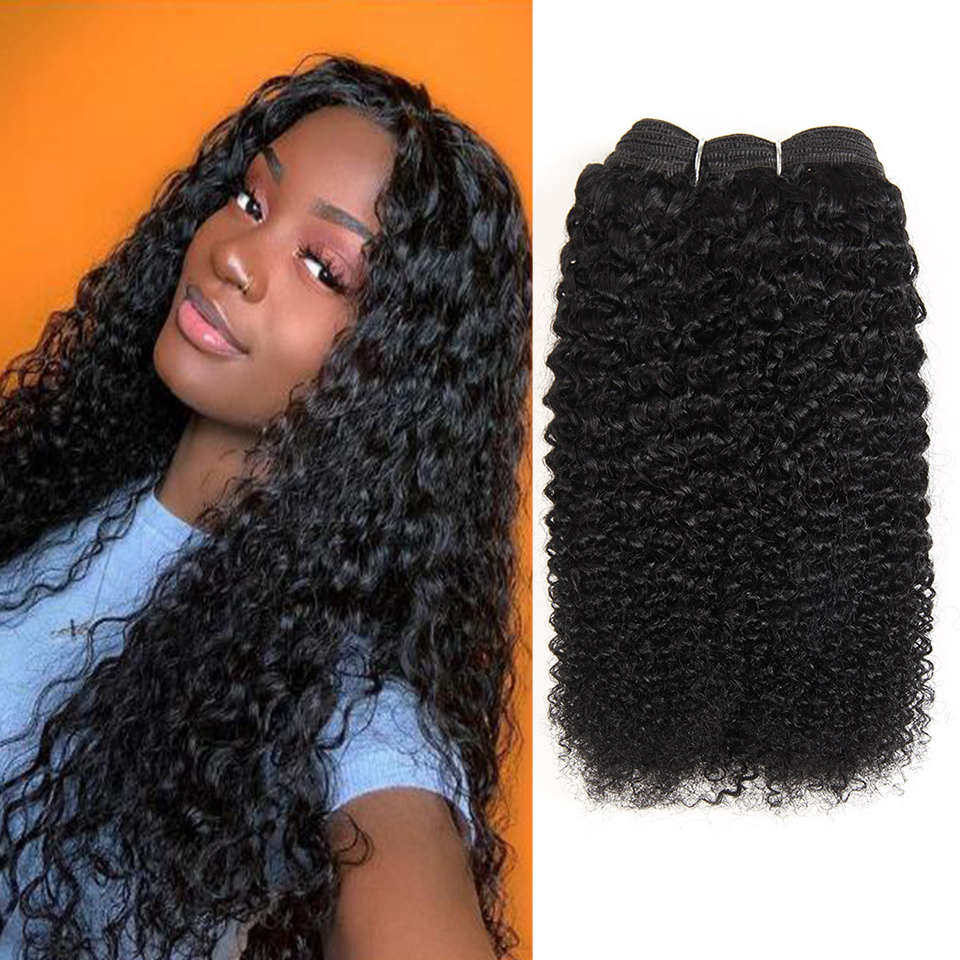Afro Kinky Curly Hair Bundle Natural Color Brown Brazilian Hair Weave Bundles Remy Human Hair Ombre