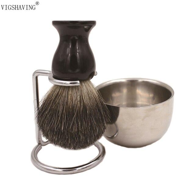 VIGSHAVING  Double Stainless shaving bowl  Black badger brush shaving kits