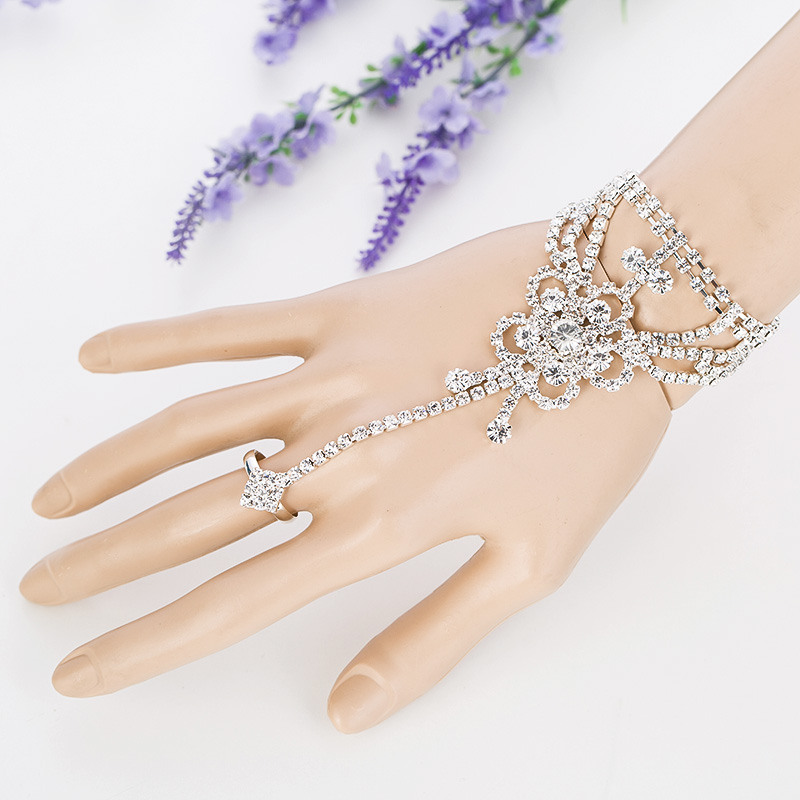 2017 New Arrival New Women Jewelry Sets Sapphirejewelry Bridal Wedding Pageant Rhinestone Bangle Bracelet Attached Withring