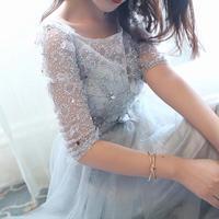 NEW SALE Three Dimensional Fowers Beadings Silver Grey Full Dress Four Seasons Paragraph Bow Long