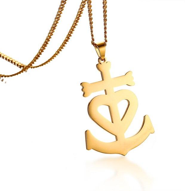 Mens camargue cross pendant necklace faith hope love heart christian mens camargue cross pendant necklace faith hope love heart christian crucifix for women men stainless steel aloadofball Gallery