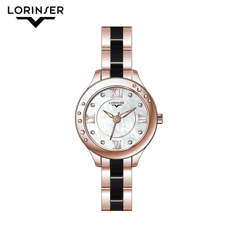 Lorinser mode femmes montre à Quartz dames tenue décontractée montre-Bracelet strass Bracelet montre or Rose luxe Relogio Feminino