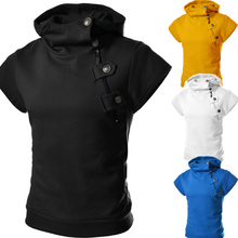 Hot-Selling Man Slim Hooded Pullover Sportswear Cotton Men's Spring Short Sleeve Hoodie Tops.Free Shipping