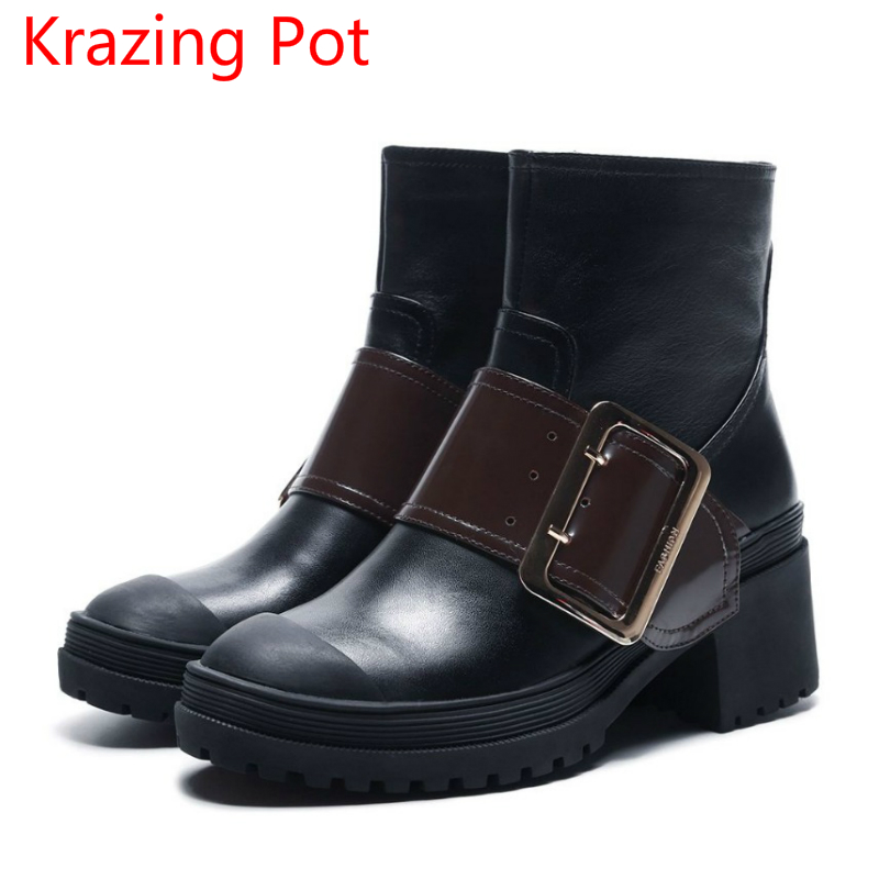 2018 New Arrival Genuine Leather Thick Heel Round Toe Zipper Motorcycle Boots Buckle Fashion Mixed Colors Mid-calf Boots L68 elevator funky full grain genuine leather rub skin color korean new arrival thread bandage round toe safety boots thick soled