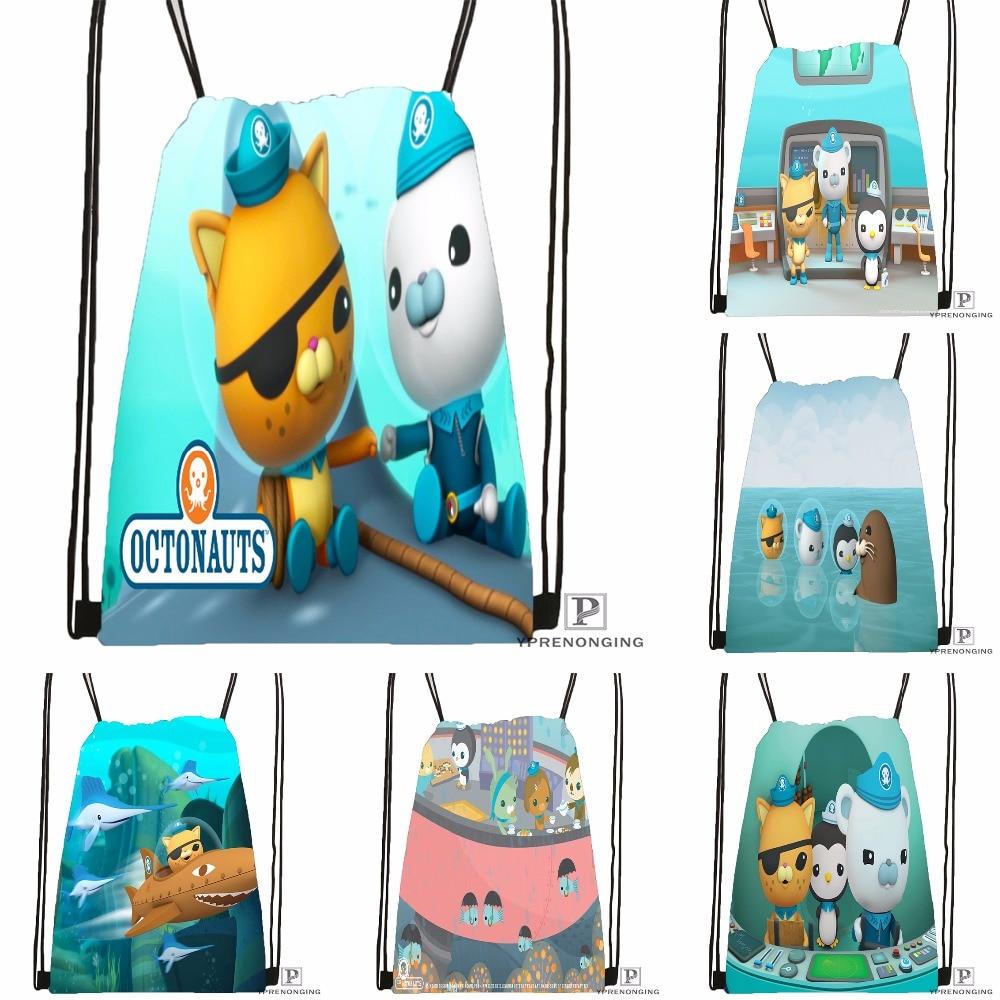 Custom The Octonauts Octopod Drawstring Backpack Bag Cute Daypack Kids Satchel (Black Back) 31x40cm#180531-04-74