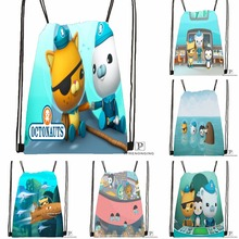 Custom The Octonauts Octopod Drawstring Backpack Bag Cute Daypack Kids Satchel (Black Back) 31x40cm#180531-04-74