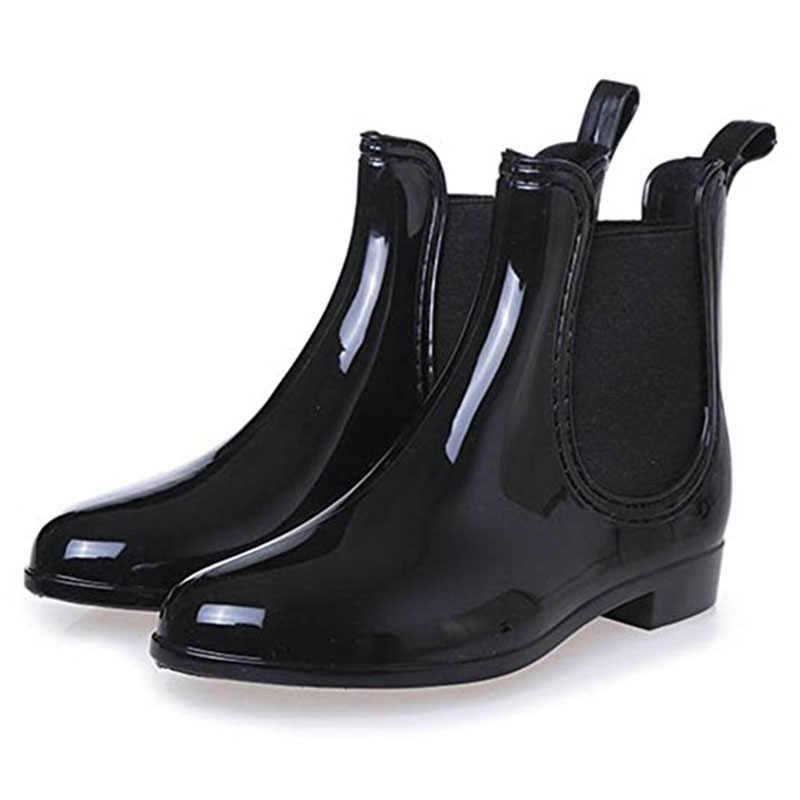 SAGUARO 2019 Yeni lastik çizmeler Kadınlar için PVC Ayak Bileği yağmur çizmeleri Su Geçirmez Moda Jöle Kadın Önyükleme Elastik Bant Yağmurlu Ayakkabı Kadın