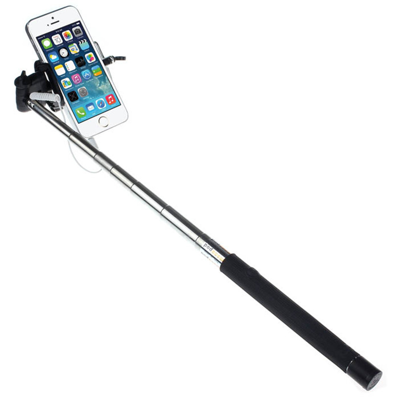 Superior Quality Extendable Handheld Self portrait Tripod Monopod For IOS Android BlackFree Shipping NOM17