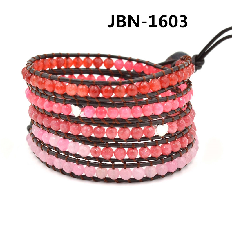 New arrival red pink stone Beads jewelry silver heart alloy weaving Leather 5X Wrap Bracelet charms bangles for women JBN-1630