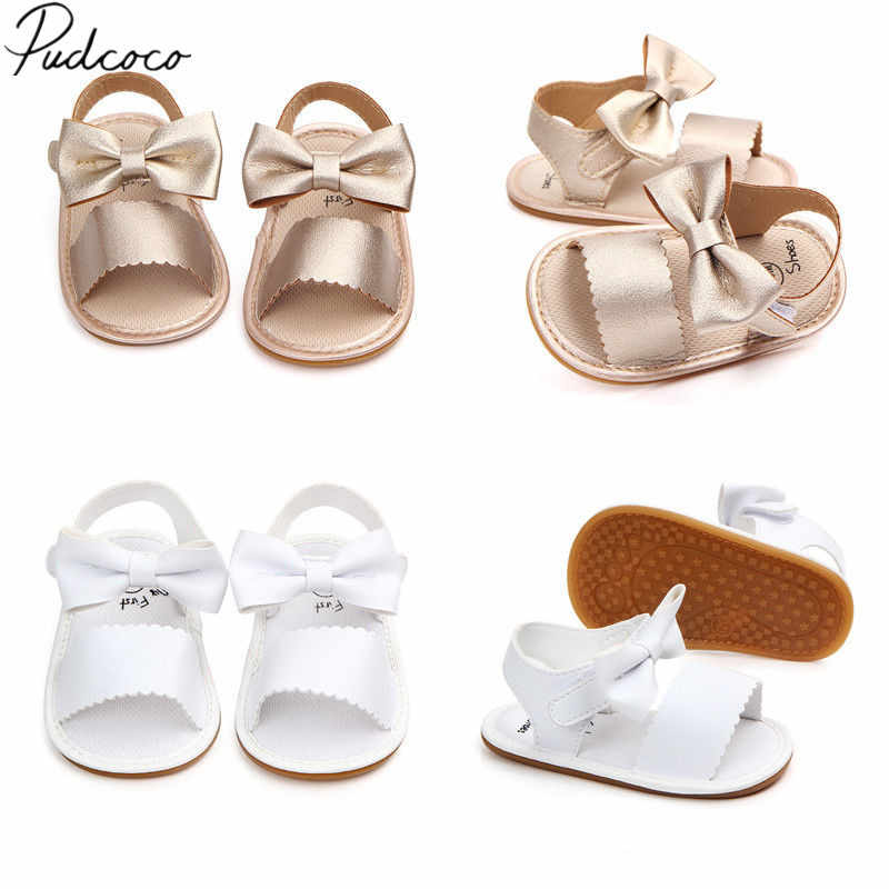¡Novedad de 2018! bonitos zapatos de princesa con lazo para recién nacidos y niñas, sandalias de verano para niños, zapatos de goma antideslizantes de PU, tamaño 0-18M