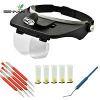 Beekeeping Mobile Bug Tool Set LED Magnified Lens Wear+aluminium Handle Grafting Tool+plastic Grafting Tool Queen Cell Cup