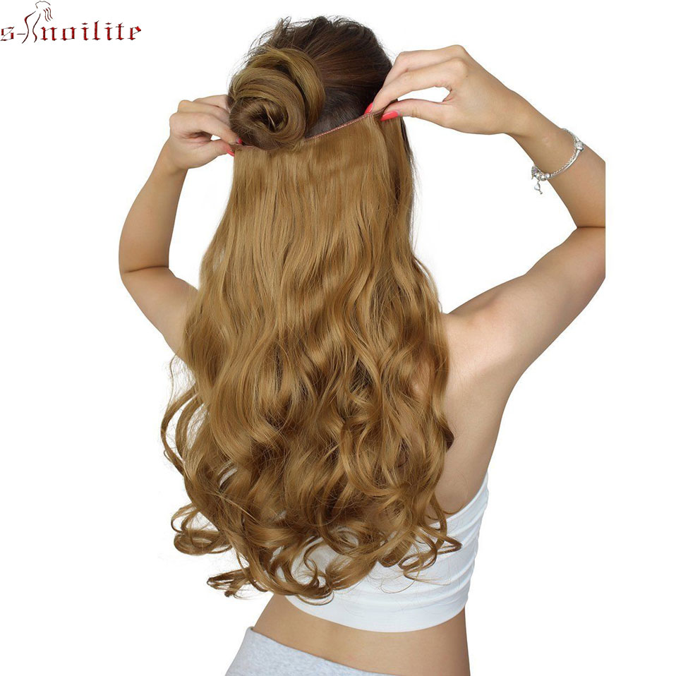 Strict Wtb Synthetic Hair Women Invisible Fish Wire Extensions Dark Brown Light Brown Red Long High Temperature Fiber Hair Extensions & Wigs