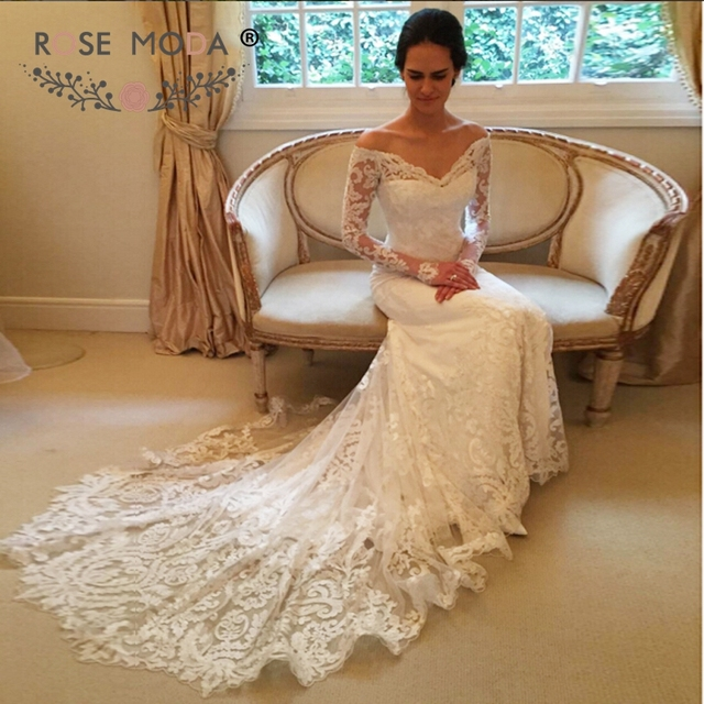 44feac2be6 US $289.0  Rose Moda Off Shoulder Long Sleeves Chantilly Lace Mermaid  Wedding Dress 2019-in Wedding Dresses from Weddings & Events on  Aliexpress.com   ...