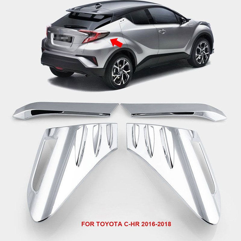 цена на BBQ@FUKA ABS Chrome Car Rear Back Lamp Tail light Cover Trim Auto Exterior Accessories Fit For Toyota C-HR CHR 2016 2017 2018
